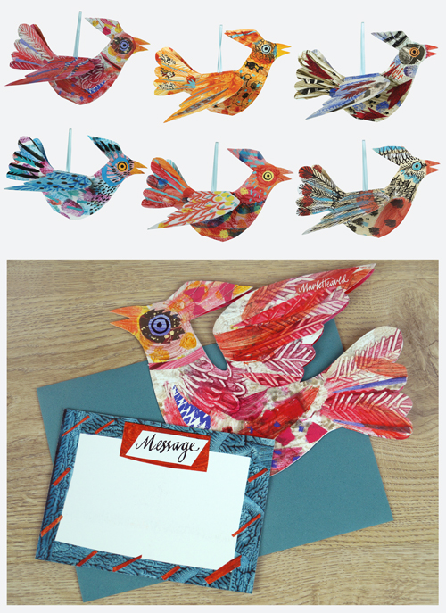 Pack of 6 different coloured birds